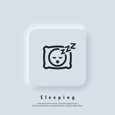 Sleeping icon. Pillow. Sleep. An image of a person having a dreamful slumber in bed on a pillow with some sleeping sound. Rest, relaxation, restoration. Vector. UI icon. Neumorphic UI UX