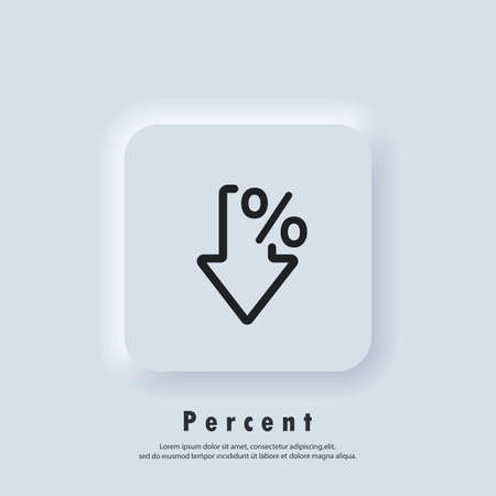 Percent arrow icon. Percent logo. Growth and reduction - discount. Vector. UI icon. Neumorphic UI UX white user interface web button. Neumorphism