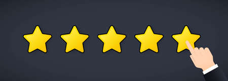 Giving five stars rating. Review. We want your feedback. Positive feedback concept.