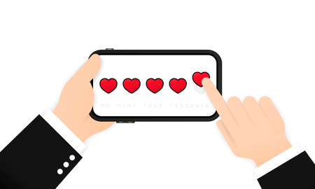 Hand holding phone and giving five heart rating. Review. We want your feedback illustration. Positive feedback concept.