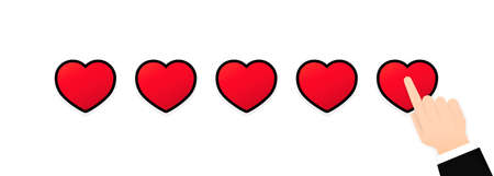 Giving five heart rating. Review. We want your feedback illustration. Positive feedback concept.