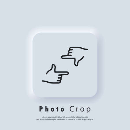 Photo Crop icon. Hands frame cropping gesture icons. Hands holding photo camera shutter. Director s hand gesture of process of movie production. Vector EPS 10. Neumorphic UI UX