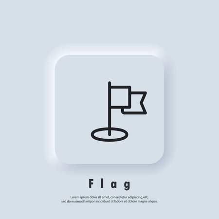 Flag line icon. Mission icon. Achievement symbol, logo. Vector EPS 10. Neumorphic UI UX white user interface web button. Neumorphism