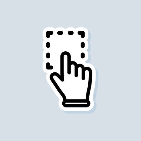 Click mouse pointer sticker. Clicking finger icon, cursor. Hand pointer, clicking icons. Vector on isolated white background.