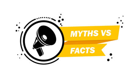 Megaphone with Myths vs facts speech bubble banner. Loudspeaker. Label for business, marketing and advertising. Vector on isolated background. Vector Illustration