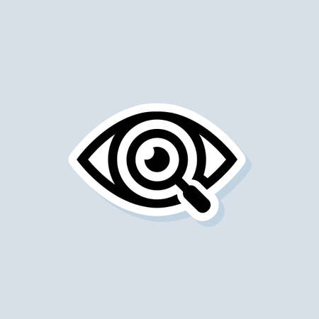Search vision sticker. Magnifying glass or search. UI icon. Eyes with magnifying. Vector on isolated background.