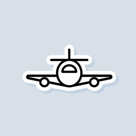 Travel agency badge sticker icon. Vector. Airplane, plane icon. Airplane icons. Vector on isolated background.