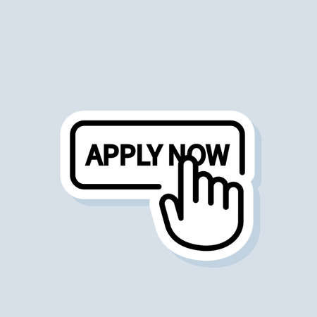 Apply now sticker. Apply now button with hand cursor. Vector on isolated background. Vecteurs