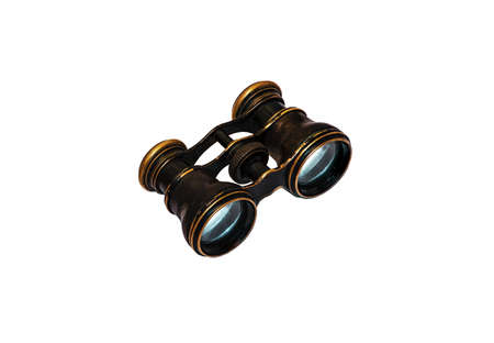 Old binocular on white. There is a way Stock Photo