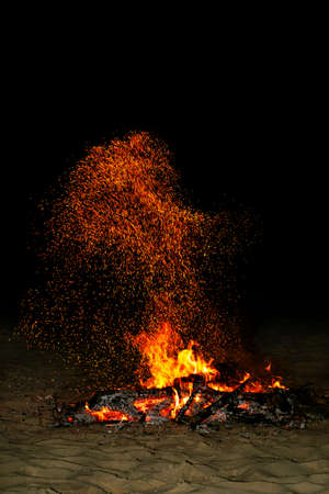 night fire on the shores of the Mediterranean Stock Photo