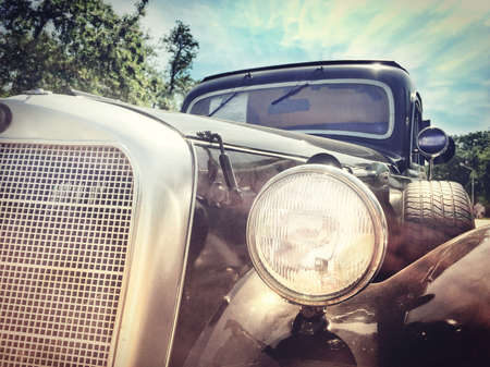 vintage retro car racing across the expanses of the world