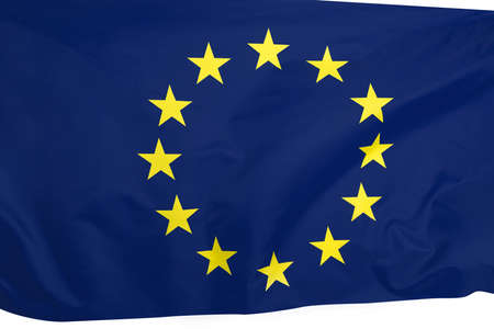 Europe union flag of silk with copyspace for your text or images.