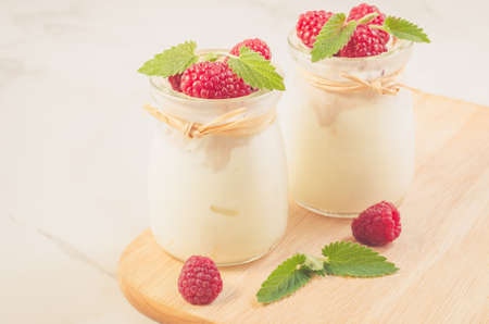fresh yogurt with raspberry and mintTwo glass jars with fresh yogurt with raspberry and mint on a woooden, selective focus Imagens