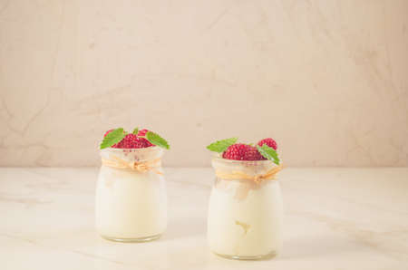 two glass yogurt with raspberry and minttwo glass yogurt with raspberry and mint on a white marble table, selective focus