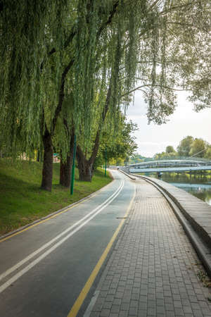 Bike path in the park with green trees along the river. Beautiful summer landscape.