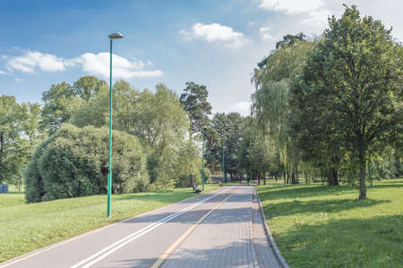 Bike path in the park with green grass and trees. Beautiful summer landscape. Foto de archivo
