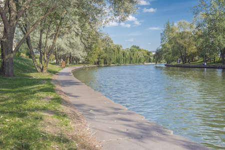 River in the city park. Beautiful landscape of summer. Trees along the river. Beauty nature scene.