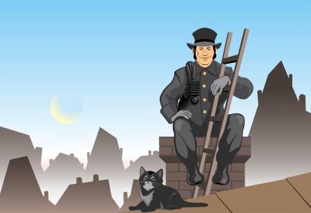 barren: Deshollinador de la ilustraci�n vectorial y gato Vectores