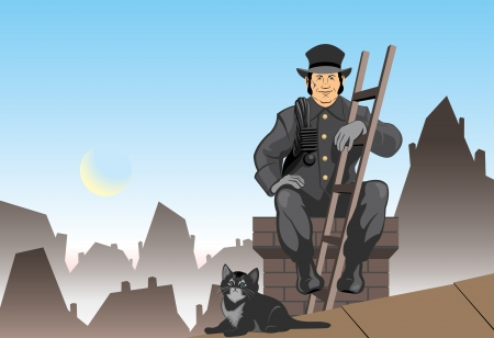 dirty house: Vector illustration chimney sweep and cat
