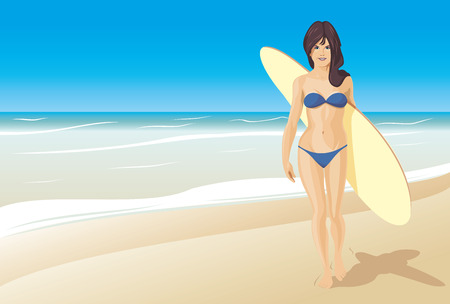 Vector illustration surfing Vector