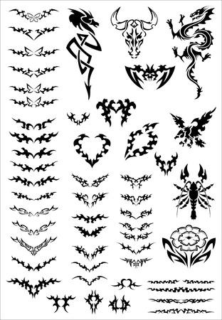 Vector tattoo design set, vector templates Stock Vector - 6326232