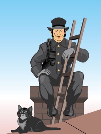 Vector illustration the chimney sweep Vector