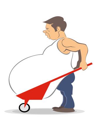 fat man: Hombre gordo de ilustraci�n de dibujos animados de vector