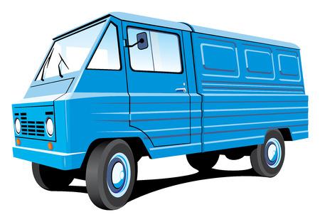 isolated mini bus van, cargo and passengers