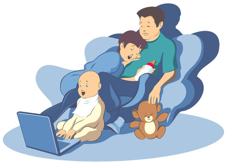 Tired toys sleep.  illustration family and new technologies