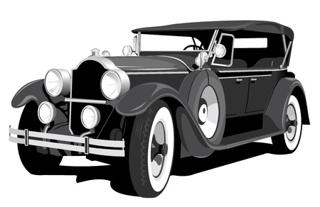 black retro car isolated on white background Vector