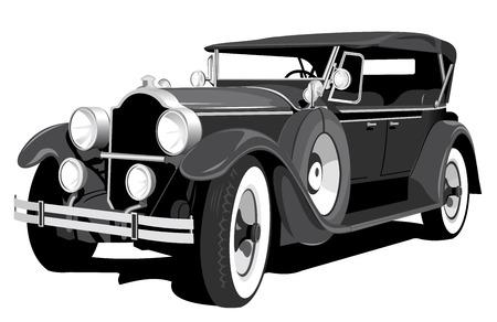 coche antiguo: negra coche retro aislada sobre fondo blanco  Vectores