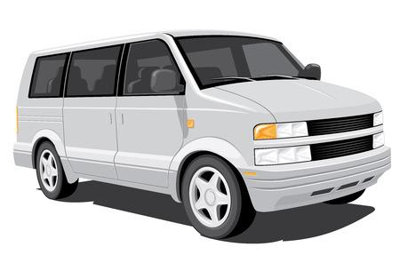 shuttle: Vector geïsoleerd minivan