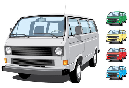 mini bus: isolated mini van without gradients