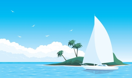 illustration yacht in sea around the island