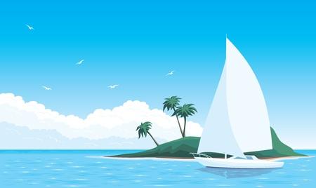 gaviota: Ilustración yate en el mar que rodea la isla Vectores