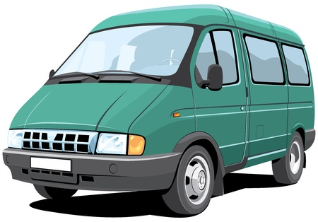 Vector isolated minibus passenger and cargo