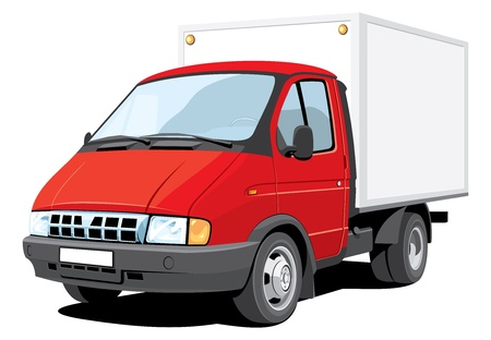 delivering: Vector isolated delivery truck without gradients.