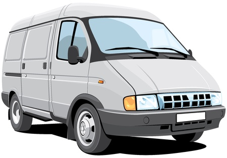 Vector isolated delivery van without gradients. Illustration