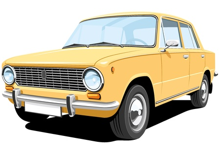 seventies: Vector isolated retro car without gradients Illustration