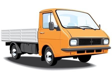 camioneta pick up: Vector aislado pequeño camión sin gradientes. Vectores