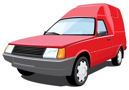 Vector isolated red pickup without gradients Vector