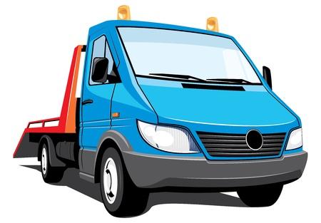 camion grua: Vector aislado grúa sin gradientes