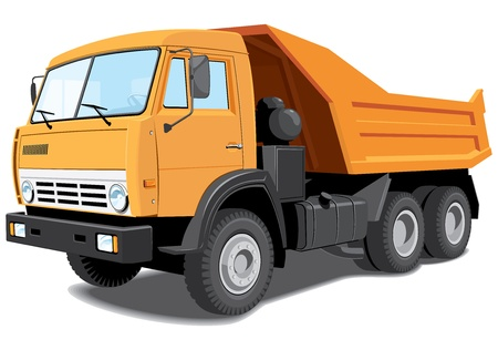 tipper: Vector isolated dump truck without gradients Illustration