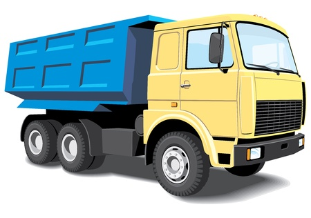Vector isolated dump truck without gradients Illustration