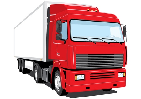 semi truck: Vector isolated semi truck without gradients