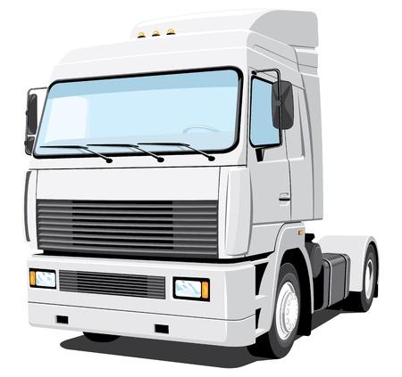 semi truck: Vector aislados camioneta blanca sin gradientes Vectores