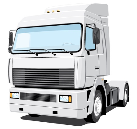 Vector isolated white truck without gradients Vector