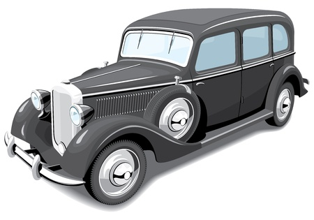 Vector isolated black retro car without gradients Vector