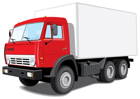 isolated red truck without gradients Vector