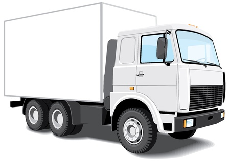one vehicle: isolated white truck without gradients Illustration